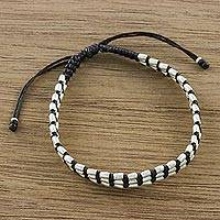 Silver beaded cord bracelet, 'Friendly Brown' - Dark Brown Macrame Bracelet with Silver 950 Beads