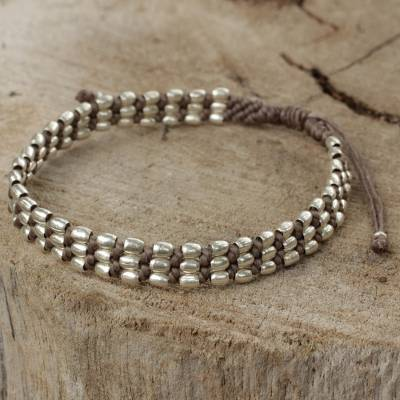 Silver beaded cord bracelet, 'Friendly Taupe' - Fair Trade Taupe Cord Bracelet with Silver 950 Beads