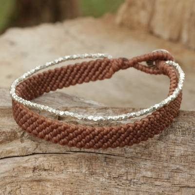 Silver beaded wristband bracelet, 'Blithe Brown' - Silver 950 Hill Tribe Beaded Brown Cord Bracelet