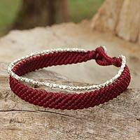 Silver beaded wristband bracelet, 'Blithe Red'