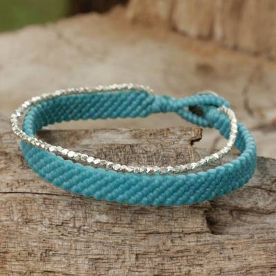 Silver beaded wristband bracelet, 'Blithe Blue' - Artisan Crafted Cord Bracelet with Hill Tribe Silver Beads
