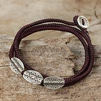 Silver beaded wrap bracelet, 'Chiang Mai Brown' - Fair Trade Thai Wrap Bracelet with Brown Cord and 950 Silver