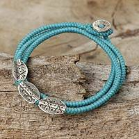 Silver beaded wrap bracelet, 'Chiang Mai Blue' - Light Blue Cord Wrap Bracelet with Silver 950 Pendants