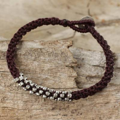 Silver beaded cord bracelet, 'Tribal Flowers in Brown' - Silver 950 and Dark Brown Cord Bracelet from Thailand