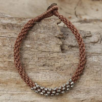 Silver beaded cord bracelet, 'Tribal Flowers in Tan' - Handwoven Cord Bracelet in Tan with Silver Beads