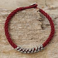 Silver beaded cord bracelet, 'Tribal Flowers in Red' - Fair Trade Red Cord Bracelet with Hill Tribe Silver Beads