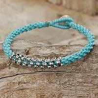 Silver beaded cord bracelet, 'Tribal Flowers in Blue' - Handmade 950 Silver Beaded Light Blue Cord Bracelet