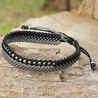 Silver beaded wristband bracelet, 'Amity in Black and Gray' - Artisan Crafted Black and Gray Cord Bracelet with Silver