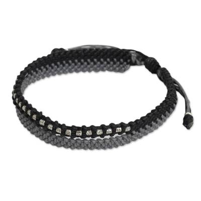 Artisan Crafted Black and Gray Cord Bracelet with Silver