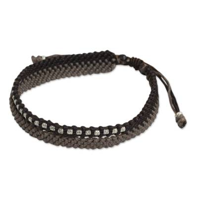 Hand-Knotted Cord Bracelet with 950 Silver Accents
