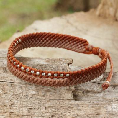 Silver beaded wristband bracelet, 'Amity in Copper and Tan' - Beaded Rust and Tan Cord Bracelet from Thai Artisan
