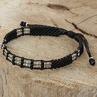 Silver beaded cord bracelet, 'Affinity in Black' - Braided Black Cord and Hill Tribe Silver Bead Bracelet