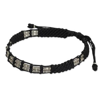 Silver beaded cord bracelet, 'Affinity in Black' - Braided Black Cord and Hill Tribe Silver Bead Bracelet
