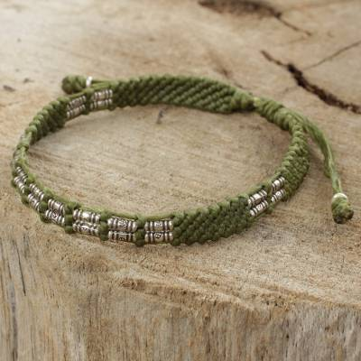 Silver beaded cord bracelet, 'Affinity in Green' - Green Cord Braided Bracelet Handmade in Thailand