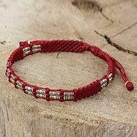 Silver beaded cord bracelet, 'Affinity in Red'
