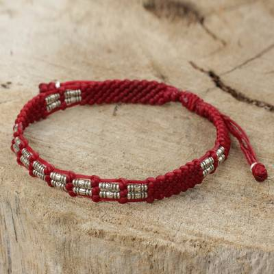 Silver beaded cord bracelet, 'Affinity in Red' - Thai Braided Red Cord Bracelet with 950 Silver Beads