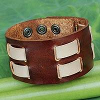 Men's leather wristband bracelet, 'Rugged Weave' - Men's Brown and Cream Leather Wristband Bracelet