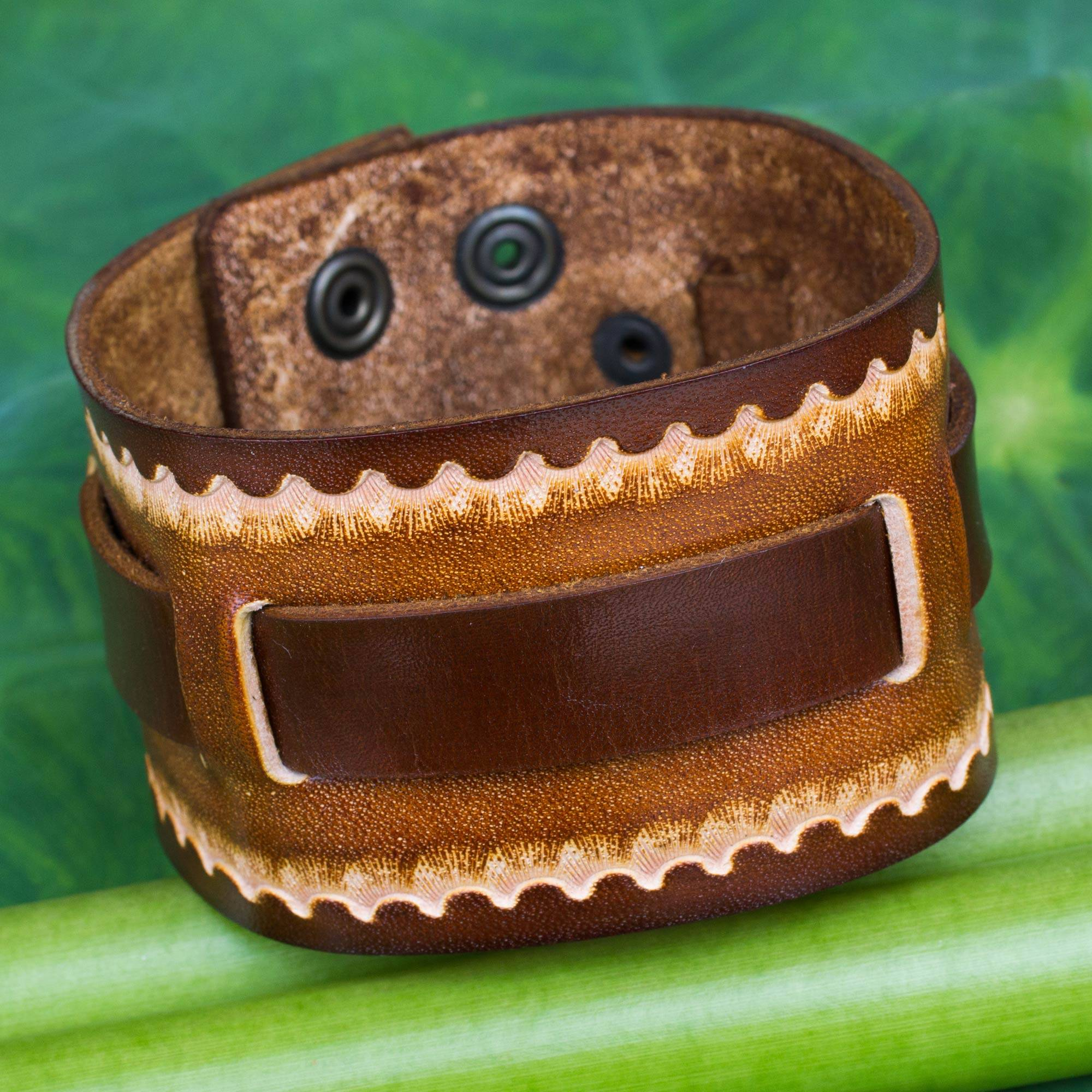 Hand Tooled Brown Leather Bracelet