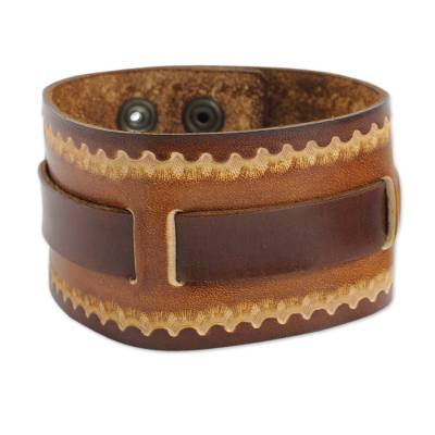 Hand Tooled Brown Leather Bracelet For Men Western Quest