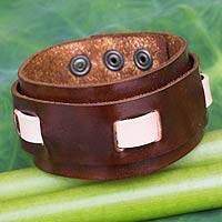Men's leather wristband bracelet, 'Voyager' - Artisan Crafted Brown Leather Wristband Bracelet for Men