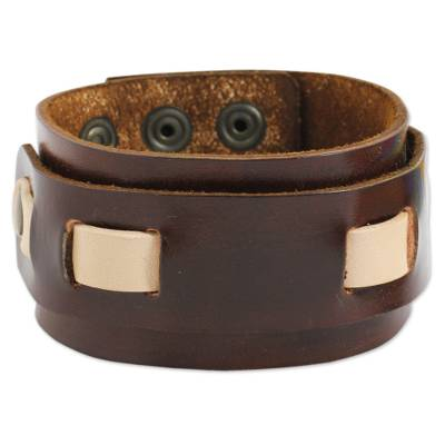 Artisan Crafted Brown Leather Wristband Bracelet for Men