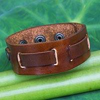 Men's leather wristband bracelet, 'Journey' - Fair Trade Men's Brown Leather and Brass Adjustable Bracelet
