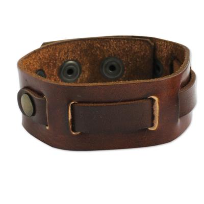 Men's leather wristband bracelet, 'Journey' - Fair Trade Men's Brown Leather and Brass Adjustable Bracelet