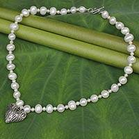 Pearl and sterling silver pendant necklace, 'Treasured Love' - Cultured Pearl Strand Necklace with Silver Heart Pendant