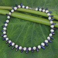 Lapis lazuli and pearl strand necklace, 'Devoted Love'
