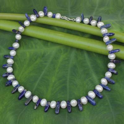 Lapis lazuli and pearl strand necklace, 'Devoted Love' - Beaded Lapis Lazuli and Pearl Necklace from Thailand