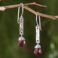Garnet dangle earrings, 'Enchanted Love' - Hammered Sterling Silver and Garnet Dangle Earrings