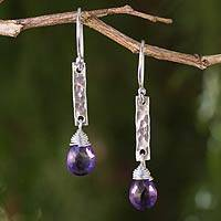 Amethyst dangle earrings, 'Enchanted Dream' - Handmade Amethyst and Hammered Silver Earrings