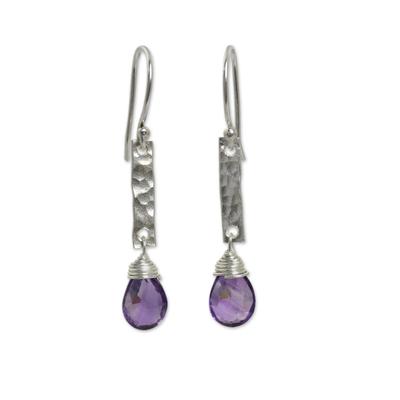 Amethyst dangle earrings, 'Enchanted Dream' - Handmade Amethyst and Hammered Silver Earrings