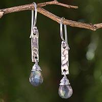 Labradorite dangle earrings, 'Enchanted Spirit' - Fair Trade Earrings with Sterling Silver and Labradorite