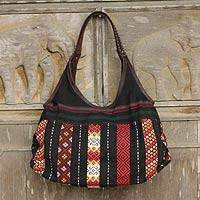 Cotton and leather shoulder bag, 'Naga Chic' - Handmade Thai Naga Tribe Style Shoulder Bag