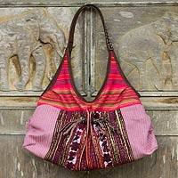 Leather-trimmed cotton shoulder bag, 'Tribal Pink' - Handmade Hill Tribe Style Pink Cotton Shoulder Bag