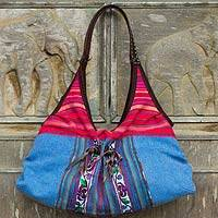Leather-trimmed cotton shoulder bag, 'Tribal Blue' - Blue Cotton Thai Style Shoulder Bag with Leather Trim