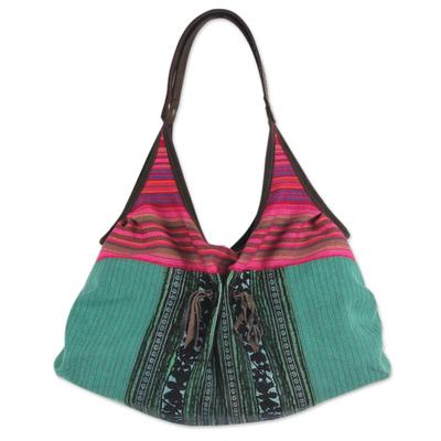 Fair Trade Cotton Shoulder Bag with Leather Trim