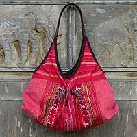 Leather-trimmed cotton shoulder bag, 'Tribal Scarlet' - Thai Red Cotton and Leather Hobo Style Shoulder Bag