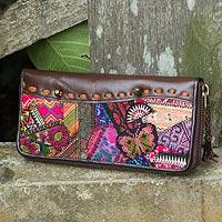 Leather and cotton blend wallet, 'Tribal Charm'