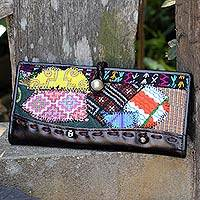 Leather and cotton blend wallet, 'Tribal Flair' - Colorful Artisan Crafted Thai Style Cotton Blend Wallet