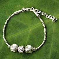 Silver pendant bracelet, 'Hill Tribe Trendsetter' - Modern Style Hill Tribe Jewelry Handcrafted Silver Bracelet