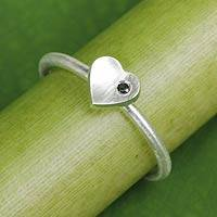 Onyx heart ring, 'The Heart' - Handmade Brushed Sterling Silver and Onyx Heart Ring