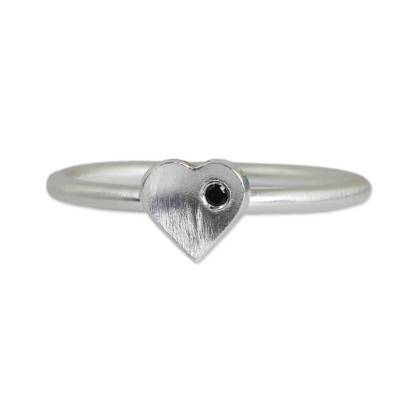 Handmade Brushed Sterling Silver and Onyx Heart Ring