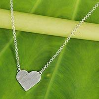 Sterling silver pendant necklace, 'Full Heart' - Contemporary Brushed Silver Heart Pendant Necklace