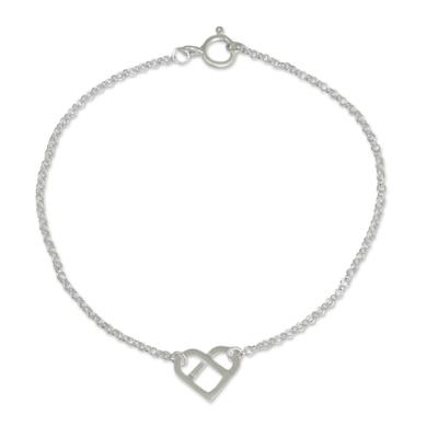 Unique Brushed Sterling Silver Heart Pendant Bracelet