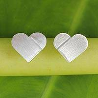 Sterling silver button earrings, 'Full Heart' - Artisan Crafted Silver Heart Earrings with Brushed Finish