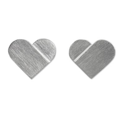 Artisan Crafted Silver Heart Earrings with Brushed Finish