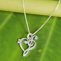 Sterling silver pendant necklace, 'Music of Love' - Artisan Crafted Brushed Silver Music Theme Necklace