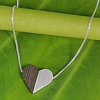 Sterling silver and wood pendant necklace, 'Together Heart' - Indian Elm Wood and Sterling Silver Heart Necklace